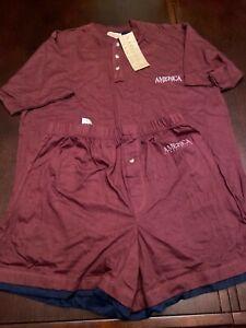 Perry Ellis America Men's Burgundy Shorts Sleeping Set Size M NWT
