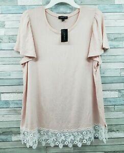 Lane Bryant Blouse Short Sleeve Top Shirt Pink Eyelet Lace Trim 14/16 1X NWT