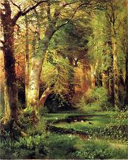 Huge art Oil painting Thomas Moran - Summer landscape Forest Scene & ducks brook