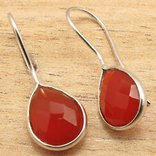 925 Silver Plated Fancy RED CARNELIAN DELICATE Earrings 2.7 cm MADE IN INDIA