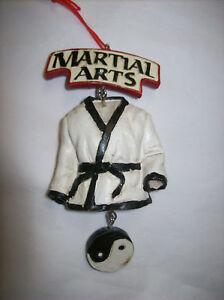 """Martial Arts"" (Black Belt Karate Robe with Yin & Yang) Resin Dangle Ornament"