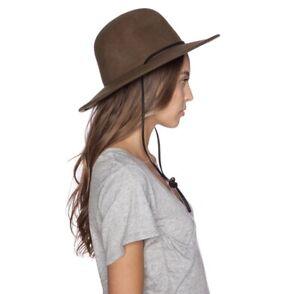 Brixton Womens Olive Green Wide Brim Felt Tiller Top Hat Size XS 6 3/4 (56 CM)