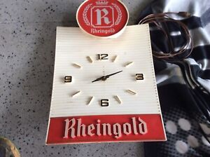 Vintage and Rare Rheingold's Beer Light and Clock