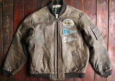 Trapunta Vintage 80s yilker Industries B-32 con Patch Pelle Bomber in Pelle di volo 42