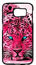 For Samsung Galaxy & Note Pink Tiger Eyes Animal Print Case Rubber/Hard Cover