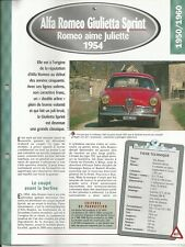 FICHE TECHNIQUE AUTOMOBILE ALFA ROMEO GIULIETTE SPRINT 1954