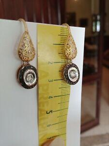 Orecchini DIAMANTI NATURALI rosette argento 925 oro GF (D) monachella filigrana