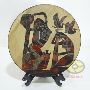 """Hand Line Carved and Painted ⌀12""""Wood Plate wall tabletop decor: Shower Bathing"""