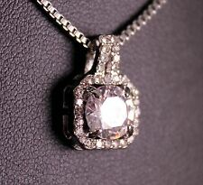 Silver 1 Carat Cubic Zirconia Pendant Necklace w/Free Jewelry Box and Shipping