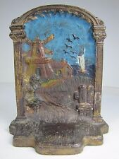 Antique Cast Iron Windmill Nautical Seaside Scene Decorative Art Bookend