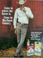 Marlboro Man Cigarettes Tobacciana Color Original Print Ad Advertising 1960s