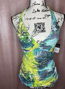 Anne Cole Signature Halter Floral Swim Top S Green Yellow Sexy Lined Wire free