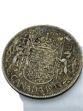 Canadian 50 Cent Silver Coin 1940
