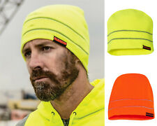 New ML Kishigo High Visibility Safety Beanie w/ 2 Reflective Stripes Lime Orange
