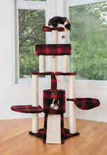 """59"""" Armarkat Multi Cat Tree Condo Bed House Perch Scratching Post Red Plaid"""