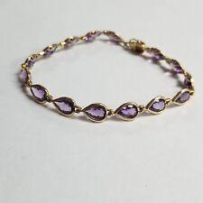 "14k Yellow Gold Amethyst Gemstone 7"" Bracelet Jewelry #OG-AMTB4"