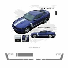 Ford Mustang 2013+ GT Style Hood and Side Stripes Graphic Kit - Metallic Silver