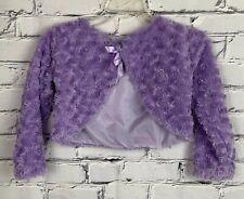 Youth Girls Cropped Sweater Size 10 Bolero Purple Long Sleeve Soft Lined Shawl