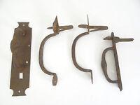Mixed Antique Lot Wrought Iron Blacksmith Made Door Handles Pulls Thumb Latch