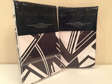 2 Ralph Lauren Ellington Deco King Pillow Shams Modern Abstract Black White