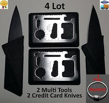 Credit Card Knives,11 in 1 Multi tools, 4 lot wallet thin pocket survival micro