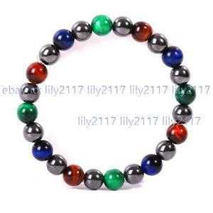 8mm Red Green Blue Tigers Eye Round Gems & Dark Gray Shell Pearl Bracelet 7.5''