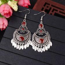 Vintage Women Silver Carved Hook Tassel Gypsy Ethnic Butterfly Earrings Jewelry