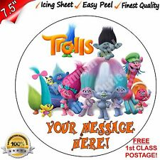"""Trolls Cake Topper Personalised EASY PEEL 7.5"""" Edible ICING Round Best Quality"""