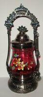 Antique Standard Silver Co Quad Plate Cranberry Enamel Floral Pickle Castor