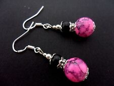 A PAIR OF BLACK/PINK GLASS PEARL  EARRINGS WITH 925 SOLID SILVER HOOKS. NEW..