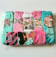 5 Pack of Girls Lol Briefs Knickers Pants 100% Cotton Age 3 to 10 Years.