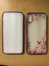 TPU gel case iphone X Xs Metallic Rose Gold colour diamond flower & butterfly