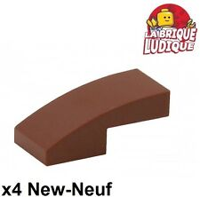 Lego - 4x Slope curved pente courbe 1x2 marron/reddish brown 11477 NEUF