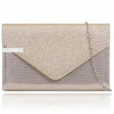 Stylish Champagne Glitter Sparkle Wedding Ladies Party Evening Clutch Hand Bag