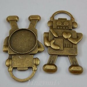 6 pcs Antiqued Bronze Round 19mm Cameo Base Robot Charms Necklace Pendant