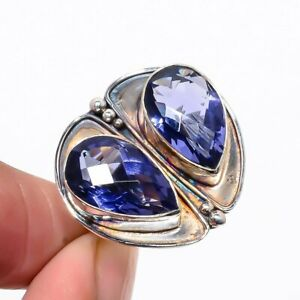 Iolite Oxidize Gemstone 925 Sterling Silver Jewelry Handmade Ring s.8 S1980