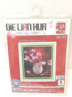Die Lian Hua Cross Stitch Pink Flowers in Vase Kit A924
