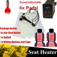 Car 2 Seats Carbon Fiber Heated Cushion Seat Heater Pad 5 Level Press Switch Kit
