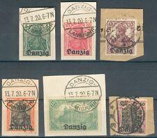 Danzig Lot/Posten mit 6 Briefstücke Mi.-Nr.1,2,3,5,7,9 o
