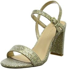 New Look Size 3 6 7 Wide Fit Gold Glitter Mid High Heel Strappy Sandals Shoes BN