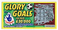 Original Vintage UK National Lottery Scratch Card Camelot Glory Goals 1998