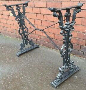 Beautiful vintage CAST IRON table legs with X frame support - Black - Free Post