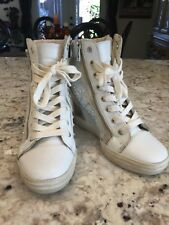 98a4ae129648 Steve Madden Zipps Womens High Heel Wedge Sneakers 7.5 M Booties White  Crystals
