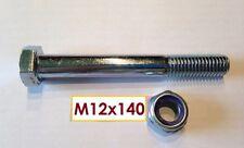 Vite DIN 931 m12x140mm, 10.9 + madre m12 kl.10 zincato per accoppiamento a sfera