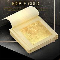 Pure 24K Gold Leaf Foil Sheets Edible For Arts Food Facial  Decor Gilding Crafts