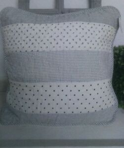 Clayre & Eef White Blue Pillow Case Vintage Cottage 15 11/16x15 11/16in Shabby