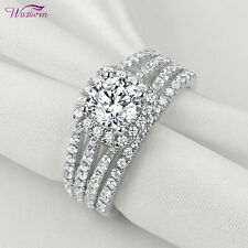 Halo Round Cut White Cz Size 8 Wedding Rings For Women Engagement Ring Set 2ct
