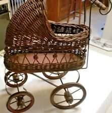 VINTAGE SMALL WOOD-WICKER-METAL DOLL CARRIAGE / BUGGY