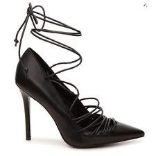 NEW ALDO Womens Black Leather Stiletto High Heel Pointed Toe Wrap Shoe 6.5 $100