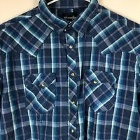 Wrangler Mens Pearl Snap Blue Plaid Rockabilly Cowboy Western Shirt Sz 2XL